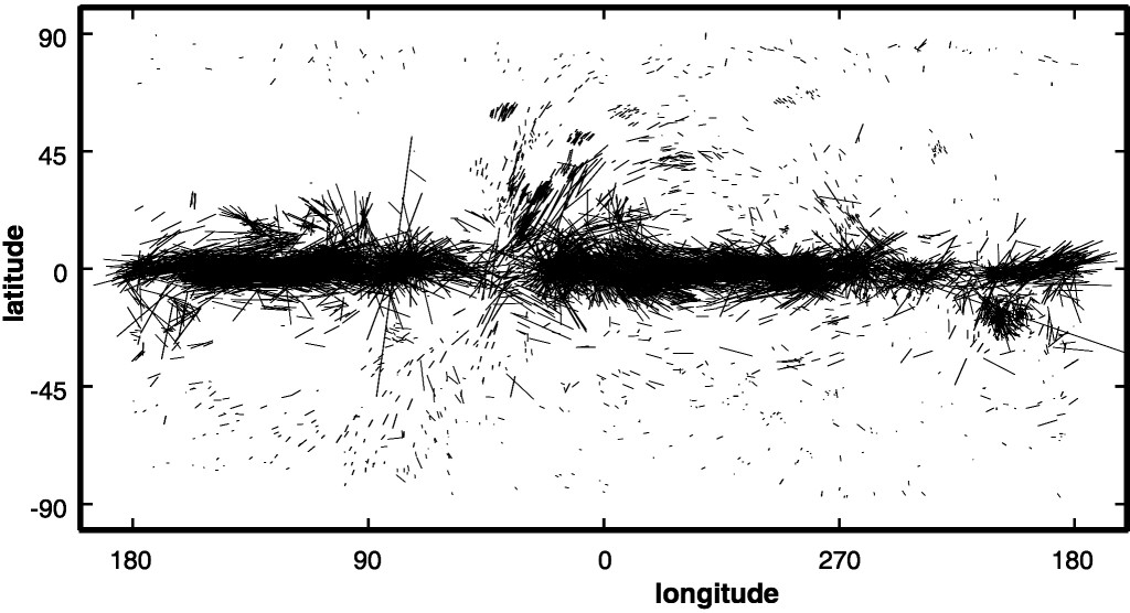 "Polarization measurements over the full sky shows that the orientation of the polarization follows the Galactic plane and therefore map out the large scale magnetic field. Note that the structures at high Galactic latitude trace near-by ISM objects such as ""Loop 1"" (see e.g. Berdyugin et al. 2014)"