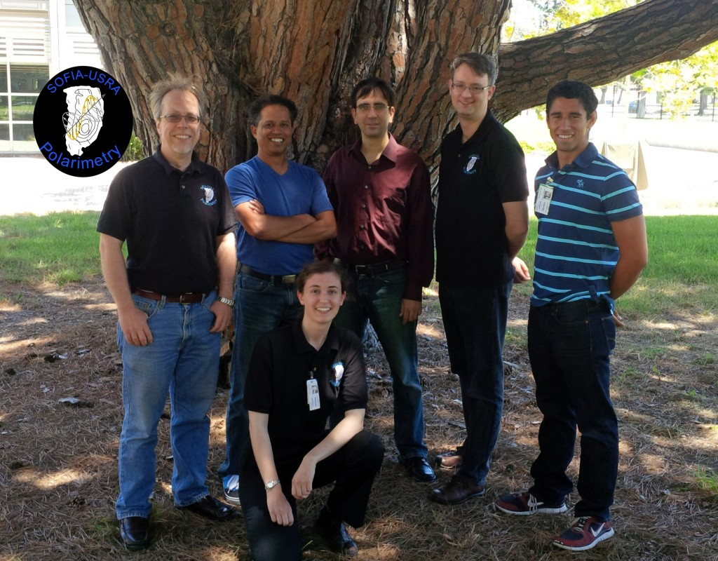 The SOFIA-USRA Polarimetri research group. From left (standing) B-G Andersson, Sachin Shenoy, Miguel Charcos Llorens, John Vaillancourt, Richard Fineman. In front; Emma Sundin.